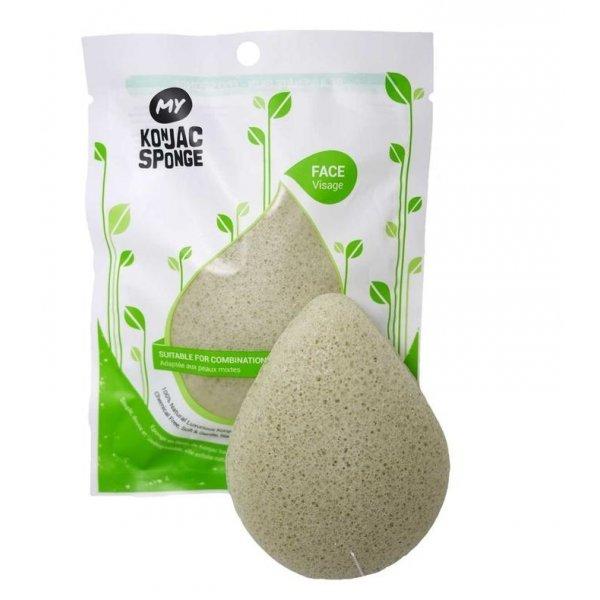 All Natural Fiber French Green Clay Facial Sponge (Light Green)